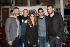Los actores de la entrevista con Leonardo Sbaraglia y el director de la película