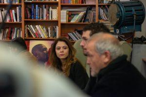 Jelena Jovanova, Michell Noher y Jordi Rebellón en la entrevista por EL DESENTIERRO