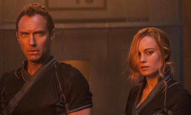 Jude Law y Brie Larson en CAPITANA MARVEL