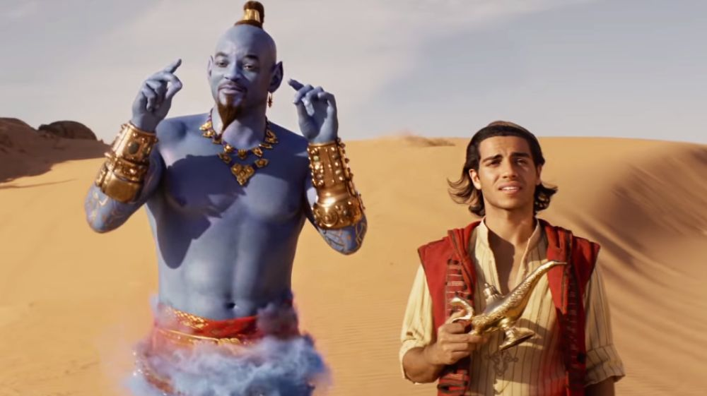 Will Smith y Mena Massoud en Aladdin