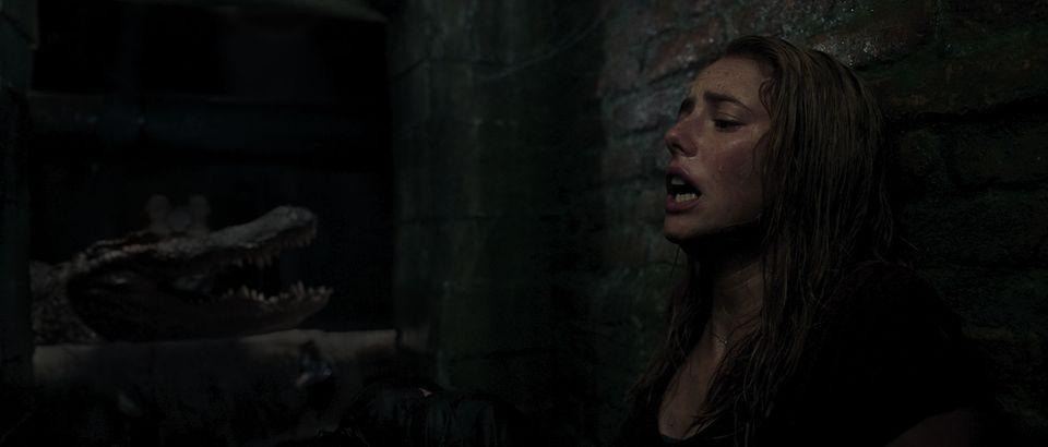 Los caimanes acosan a Haley (Kaya Scodelario) en Infierno bajo las aguas
