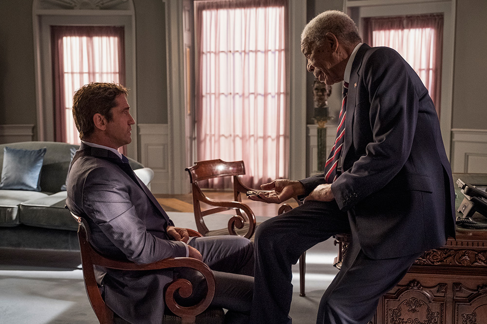 Gerard Butler y Morgan Freeman en Objetivo: Washington D.C.