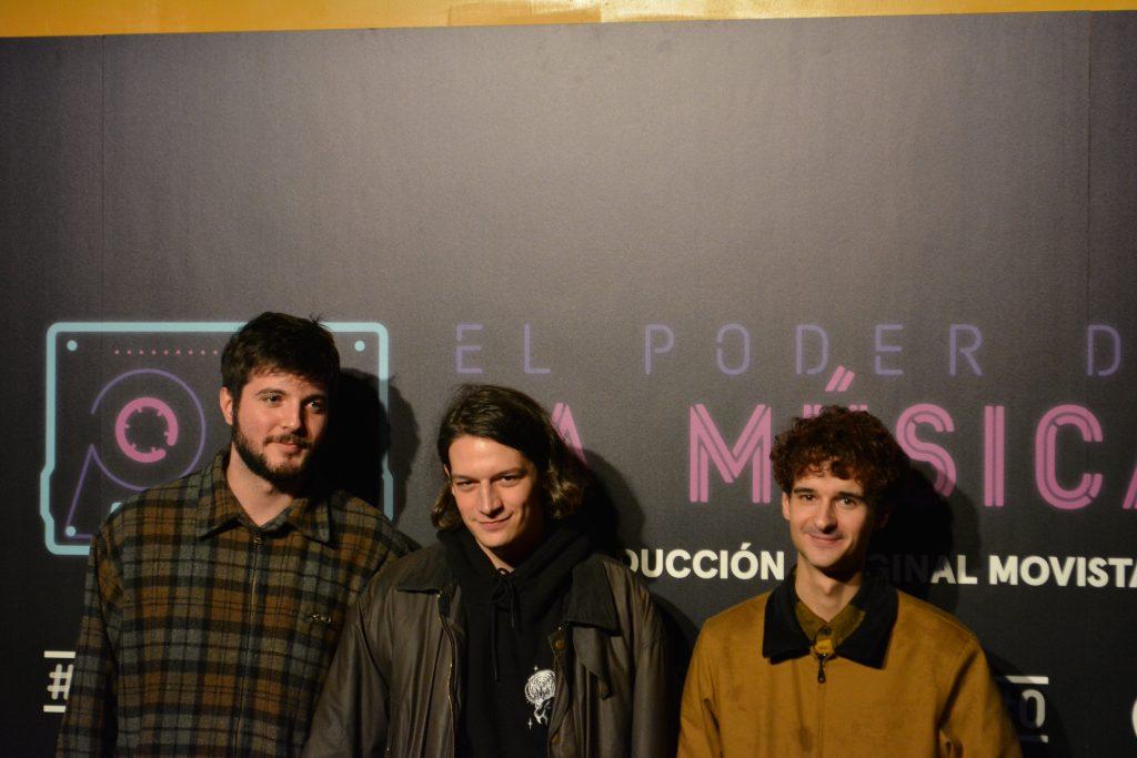 Parte de los integrantes de Carolina Durante,  en la presentación de El poder de la música. (  Diego Ibáñez, Juan Pedrayes y Mario del Valle, )