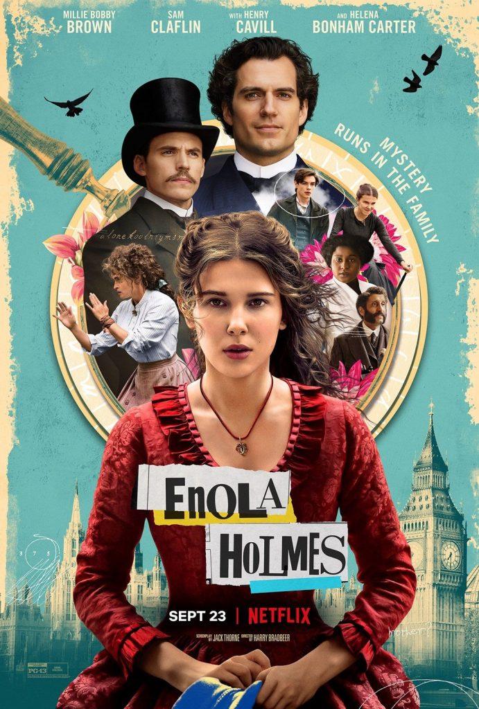 El cartel de ENOLA HOLMES es un collages con el nombre en formato de juego de palabras