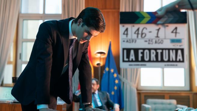 Álvaro Mel en el rodaje de la serie de La Fortuna